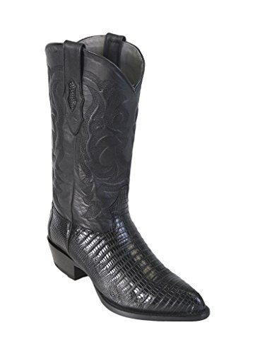 - Men's J-Toe Black Genuine Leather Teju Lizard Skin Western Boots