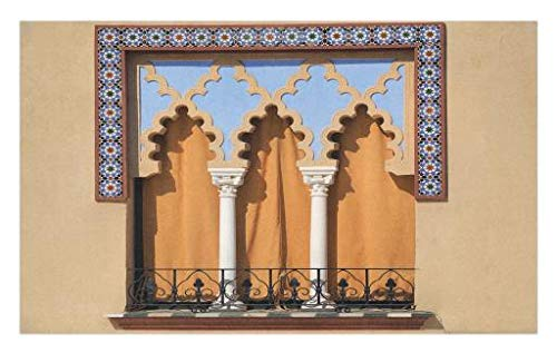 Lunarable Arabian Doormat, Old Windows in Arabian Style at Cordoba Spain Background Balconies City, Decorative Polyester Floor Mat Non-Skid Backing, 30 W X 18 L inches, Sand Brown Pale Blue by Lunarable