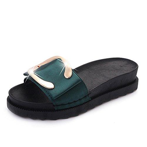 Leather Bke (Womens Wedge Platform Slide on Sandals Open Toe Cork Faux Suede Dress Summer Slippers Shoes (Green 38/7.5 B(M) US Women))