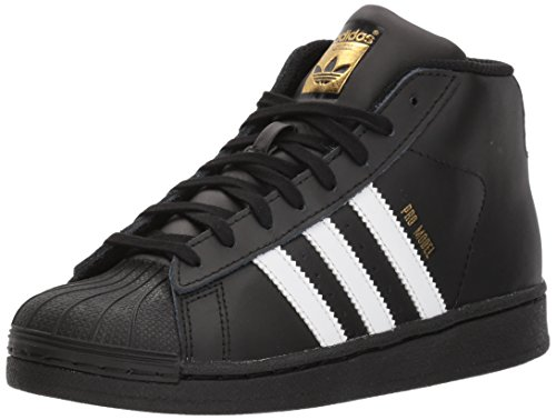adidas Originals Unisex-Kids Pro Model C Sneaker, Core Black, Running White, Metallic/Gold, 2 M US Little - And Gold Original Black