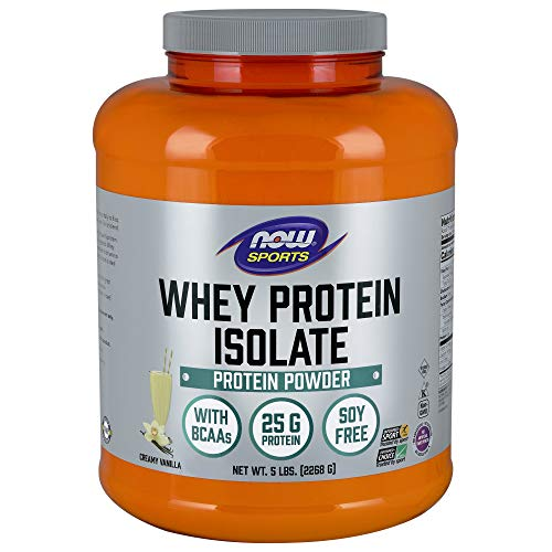 NOW Sports Nutrition, Whey Protein Isolate Powder, Creamy Vanilla, 5-Pound