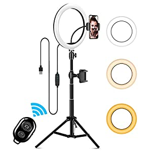 """Best Epic Trends 41qMT8i%2BqRL._SS300_ 10"""" LED Selfie Ring Light, Dimmable Ring Light with 3 Light Modes & 11 Brightness and Tripod Stand Phone Holder for YouTube TikTok Photography Compatible with iPhone Android, Black"""