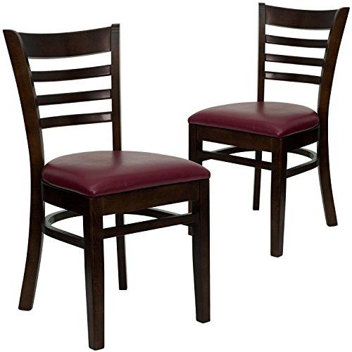 Flash Furniture 2 Pk. HERCULES Series Ladder Back Walnut Wood Restaurant Chair - Burgundy Vinyl Seat