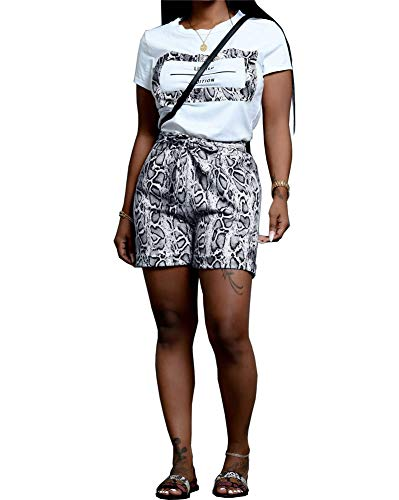 (Women Snakeskin Short Sets Outfits - Casual Animal Print Short Sleeve T-Shirts and Bodycon Shorts Sweatsuits Set with Belt Black)