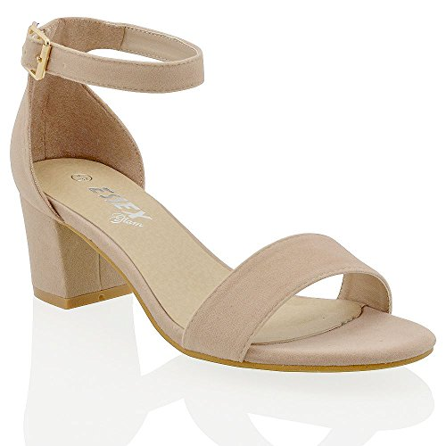 ESSEX GLAM Womens Low Mid Heel Block Peep Toe Ladies Ankle Strap Party Strappy Sandals 3-8 NUDE FAUX SUEDE RCUZHpAn4
