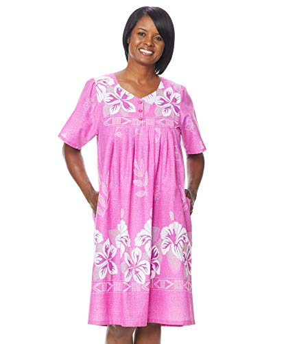 AmeriMark Womens Patio Dress Lounger Floral Print Border Short Sleeve and Pockets Orchid 5X