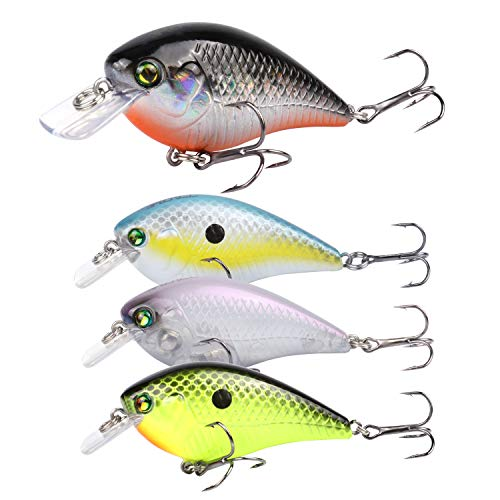 RUNCL Anchor Box - Shallow Running Crankbaits SC120, Wobbler Fishing Lures, Hard Fishing Lures (Pack of 4)
