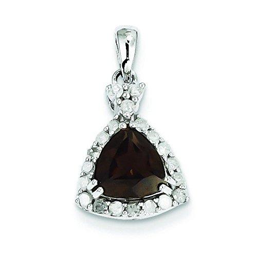 Argent Sterling diamant et Quartz fumé pendentif-Triangle JewelryWeb