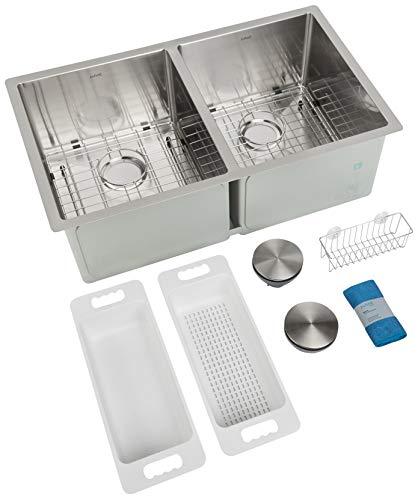 ZUHNE 32-Inch Double Bowl Undermount Stainless Steel Deep Kitchen Sink 16 Gauge (50/50 Equal)