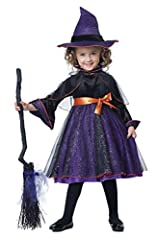 She brightens your day with a few magic words. The Hocus Pocus toddler costume is a dress decorated with a glitter sheen skirt overlay. It comes with hat, belt with attached bow and caplet with attached collar. Shoes, tights and broom are not...