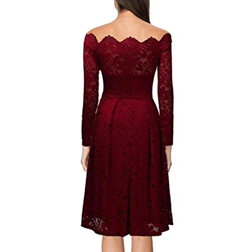 bee58c4563f ... Kleid damen Kolylong® Frauen Elegant Spitze Schulterfrei Kleid Vintage  Langarm Kleider Retro Kleid Knielang Festlich ...