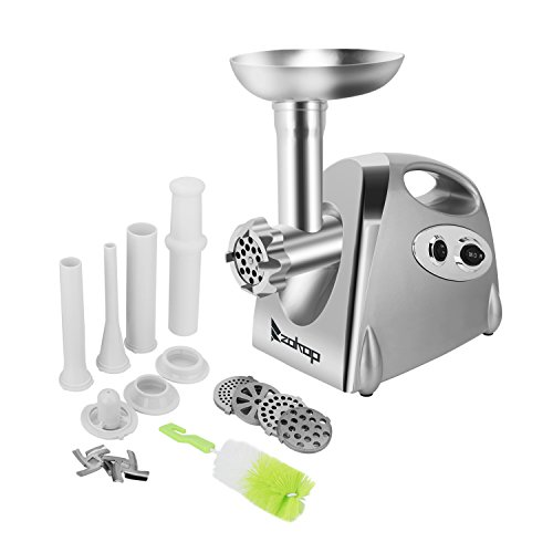 ROVSUN Electric Meat Grinder,1200W Meat Mincer Sausage Stuffer,Food Grinder with 4 Cutting Plates,3 Sausage Stuffing Tubes,2 Stainless Steel Blades,Kibbe Attachment+Brush Gift,ETL Approved (32 Electric Meat Grinder)