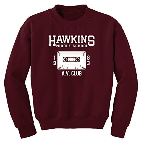 Hawkins Middle School AV Club Sweatshirt (Maroon, S)