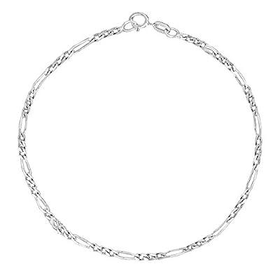 14k White Gold Figaro Link Chain Anklet Ankle Bracelet 1.3 Mm 10 Inches