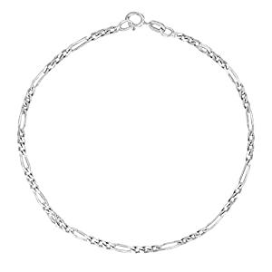 14k Yellow or White Gold Figaro Link Chain Anklet Ankle Bracelet 1.3mm