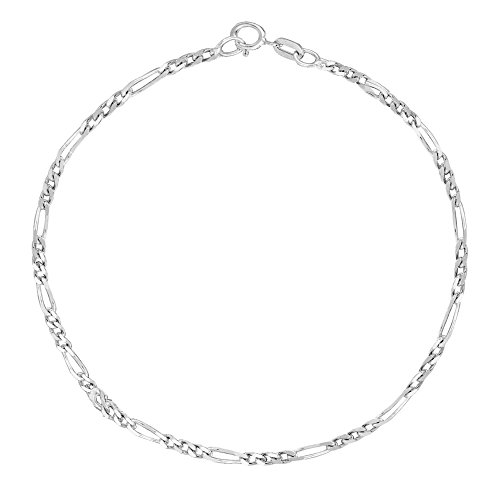 Ritastephens 14k White Gold Figaro Link Foot Chain Anklet Ankle Bracelet 1.3 Mm 10 Inches