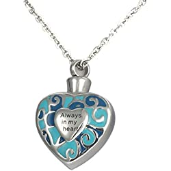 Valyria Memorial Jewelry Always in My Heart Urn Necklace Keepsake Cremation Ashes Pendant