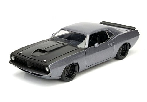 NEW 1:24 W/B JADA TOYS BIG TIME MUSCLE COLLECTION - GREY 1973 PLYMOUTH BARRACUDA (MJ EXCLUSIVE) Diecast Model Car By Jada Toys