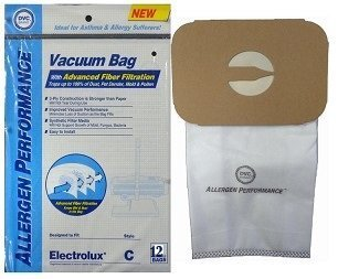 - Aerus Electrolux Type C HEPA Certified Cloth Upright Vacuum Bags, 12 Bags.