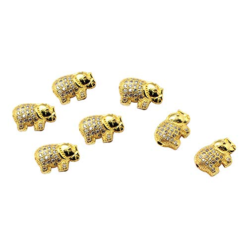 PH PandaHall 10pcs Golden Elephant Rack Plating Brass Cubic Zirconia Beads Crystal CZ Stones Disco Ball Spacer Charms Beads for Jewelry Making