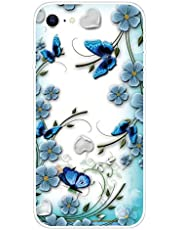 Miagon Transparent Case for iPhone SE 2020,Blue Flower Butterfly Pattern Creaive Funny Clear Soft Ultra-Thin Flexible Silicone Drop-Protection Fully Protective Cover Case