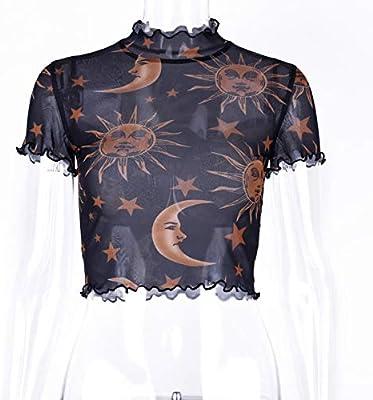 ljradj banxiu Camiseta de Manga Corta Ombligo con Estampado de ángel de Malla para Mujer Negra L: Amazon.es: Hogar