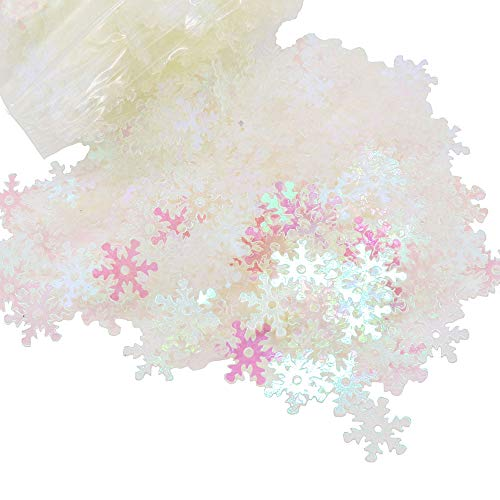 20g/lot 8mm Transparent AB Snowflake Confetti PVC Sequins Christmas Party Decoration (Transparent AB) ()