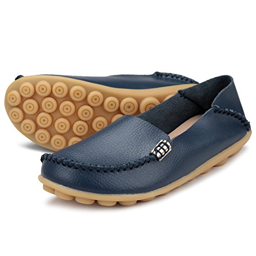 Round Breathable Women's Ponyka Shoes Loafers Blue Moccasins Dark Toe Flats Leather Driving Casual Wild zfzFnqXS