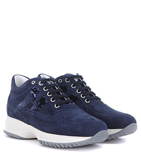 Hogan Women's Sneaker Interactive in Blue Suede and Sequins 36,5(EU) -4(UK) Blue