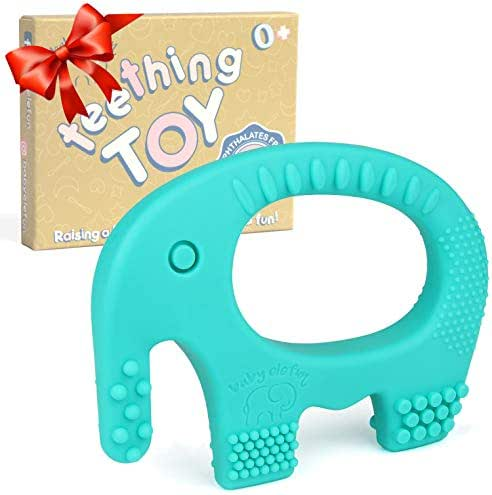 Baby Teething Toys - BPA Free Silicone - Cute, Easy to Hold, Soft and Highly Effective Elephant Teether - Teethers Toy Best for Freezer - Unique Valentine Gifts for Little Boys and Girls