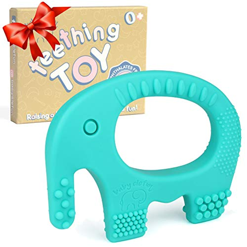Baby Teething Toys - BPA Free Silicone - Cute, Easy to Hold, Soft and Highly Effective Elephant Teether - Teethers Toy Best for Freezer - Unique Boy or Girl Christmas Gifts Stocking Stuffers