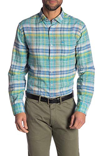 Tommy Bahama Island Zone Long Sleeve Nod to Madras Linen Blend Camp Shirt (Color: Mint Mojito, Size XL)