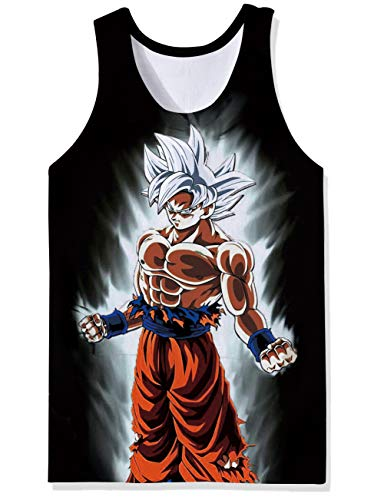 (OPCOLV Men's 3D Prints Vest Tops Dragon Ball z Funny Cartoon Tops Comfy Apparel Home Tees Sleeveless Character Panels Tees Size L )