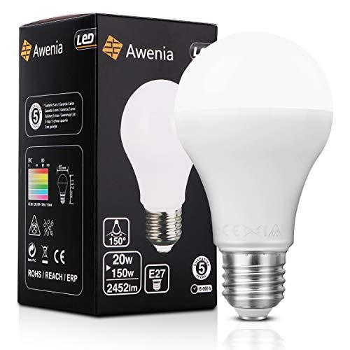 Awenia Bombilla LED Esférica E27 20W (Equivalente a 150W), Luz LED 6500K 2452 Lúmenes Blanco Frío: Amazon.es: Iluminación