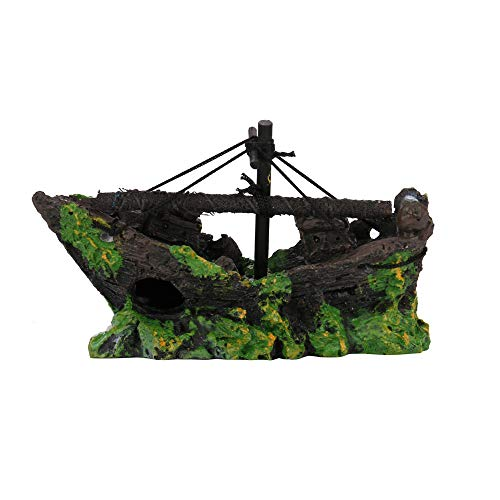 Gbell Aquarium Decor Rockery Ship Boat View Aquarium Hiding Cave Tree Fish Tank Ornament Decoration