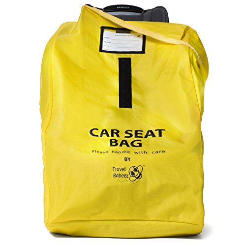 Travel Babeez Durable Car Seat Travel Bag, Airport Gate Check Bag with Easy-to-Carry Backpack-Style Shoulder Straps & Zipper Closure | Ballistic Nylon (Bright Yellow) (Air Travel Infant Car Seat)