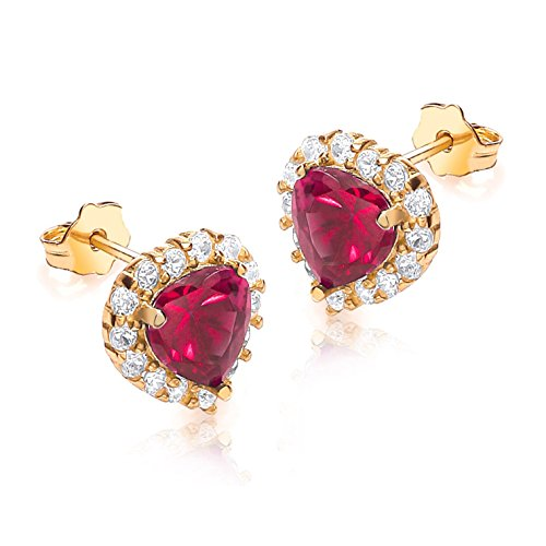 Carissima Gold 9 ct Or jaune avec Red and White Cubic Zirconia Heart Cluster Stud Earrings