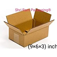 SHRI RAM PACKAGING 3 Ply Corrugated Boxes (9x6x3-inch, Brown) - Pack of 50