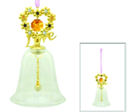 24k Gold Plated Blooming Love Glass Bell Ornament with Gold Swarovski Element Crystals