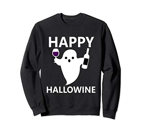 Happy Hallowine Sweatshirt for Women Halloween Wine