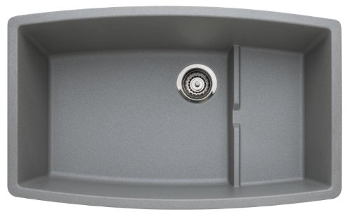 BLANCO 440067 PERFORMA Cascade SILGRANIT Undermount Single Bowl Kitchen Sink, 80% Granite, Metallic Gray