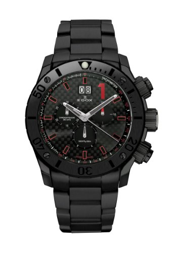 Edox Men's 10021 37N NRO Class 1 Black PVD Chrono Rotating Bezel Steel Watch
