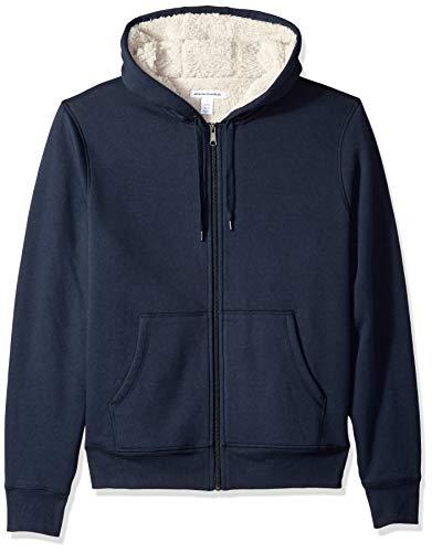Amazon Essentials Men's Sherpa Lined Full-Zip Hooded Fleece Sweatshirt, Navy, Large