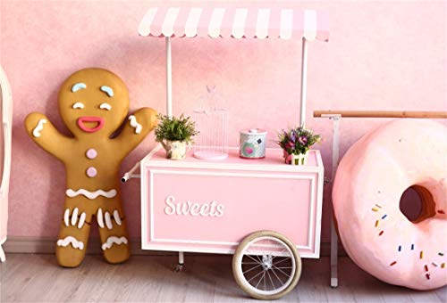 (Yeele 5x4ft Photography Background Sweet Ice Cream Cart Gingerbread Man Doughnuts Kids Birthday Party Decoration Preschool Activity Children Shoots Baby Shower Toddler Photo Backdrop)