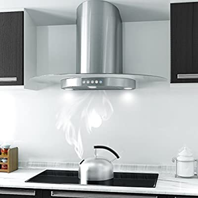 "FIREBIRD New 30"" European Style Wall Mount Stainless Steel Range Hood Vent Push Button Control"