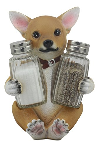 "Ebros Picante Teacup Tan Chihuahua Puppy Salt and Pepper Shakers Holder Figurine Set 6.25"" H"