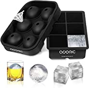 adoric Ice Cube Trays Silicone Set of 2, Sphere Ice Ball Maker with Lid and Large Square Ice Cube Molds for Wh
