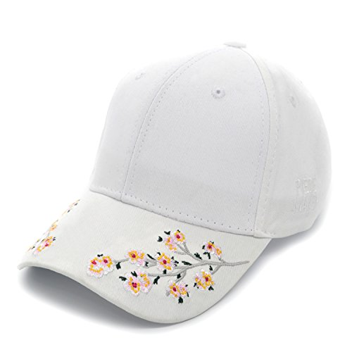 b5f7897fdf5 PT FASHIONS Plum Blossom Embroidered Dad Hat Women s Adjustable Cotton  Satin Floral Baseball Cap