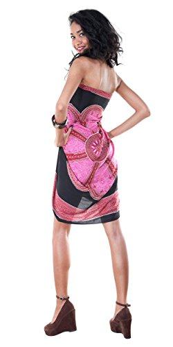 para rosa estampado de mujer Sarong ba negro Traje Lotus o con floral 6qwvwFI