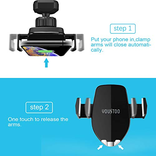 YOUSTOO Wireless Car Charger Mount, Automatic Sensing Clamping Car Mount Holder, 7.5w 10w Qi Fast Charging Car Phone Holder Compatible with iPhone Xs Xs Max XR X 8 8 Plus, Samsung Galaxy Black